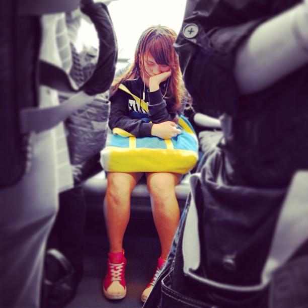 A #girl #sleeping on the #train in the #hongkong #morning rush. #hkig