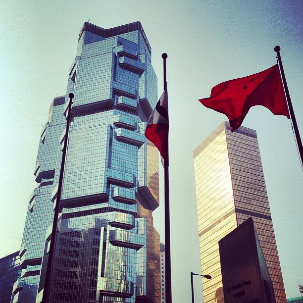 Last #lippo #tower shot of the day. #reflections in #glass #steel and a #flag fluttering in the wind. #hongkong #hk #hkig