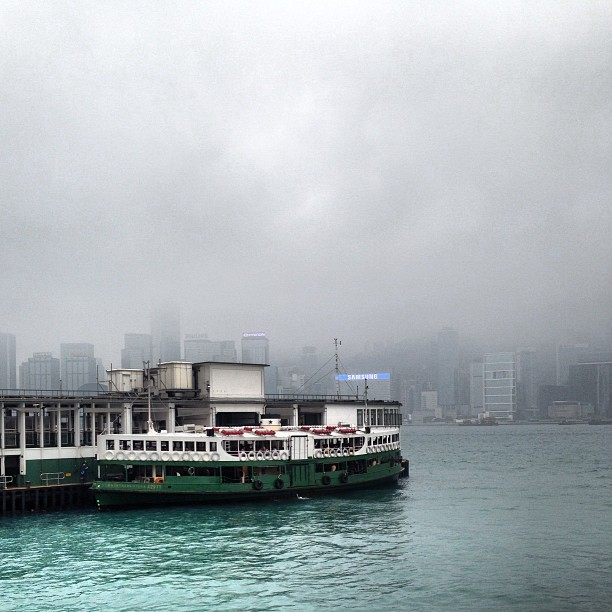 The #ferry is docked on a dreary day on #victoriaharbour. #hongkong #hk #hkig
