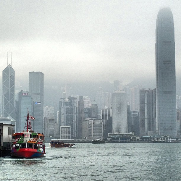 The #star #ferry is a splash of colour on a #hazy day on #victoriaharbour. #hongkong #hk #hkig