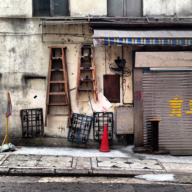 #ladders hanging off a #wall on the #streets of #hongkong. #hkig #hk