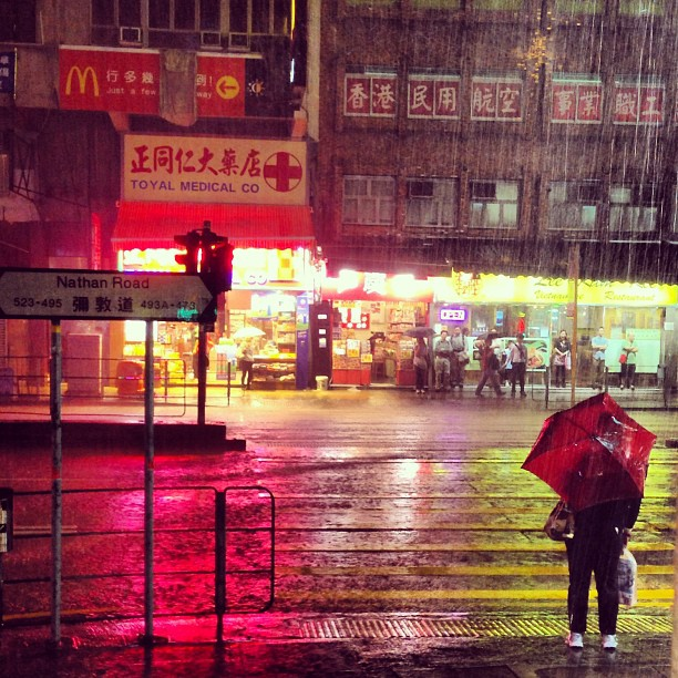 #lady with #umbrella in a #hongkong #amber #rainstorm. #rain #hk #hkig