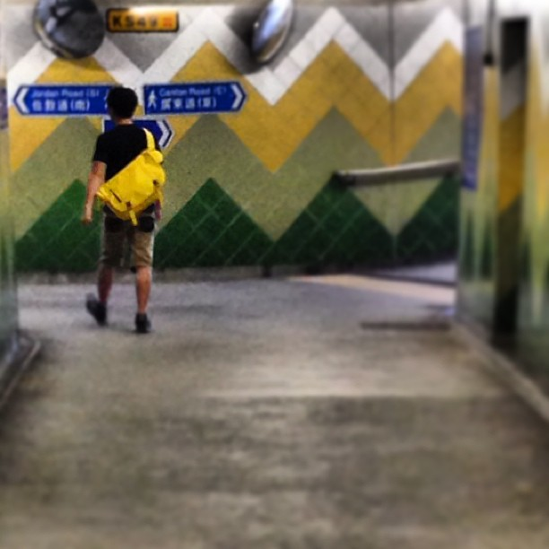 #left or #right? #man with #yellow #messenger #bag in #underpass. #hongkong #hk #hkig