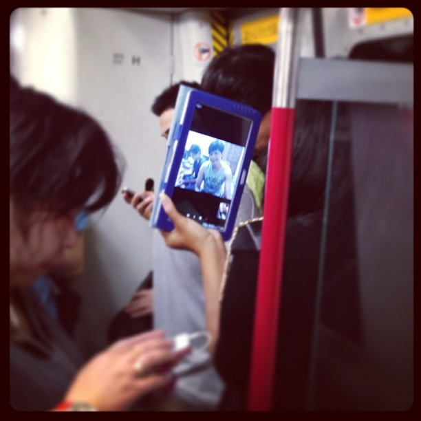 Domestic helper on the #MTR video chatting with her family. #hongkong #hk #hkig