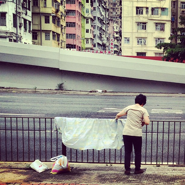 So your apartments too small, where do you dry your large #laundry? Why right next the #highway, of course! #hongkong #hk #hkig