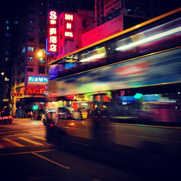 The #bus zooms through the #streets of #mongkok at #night. #hongkong #hk #hkig