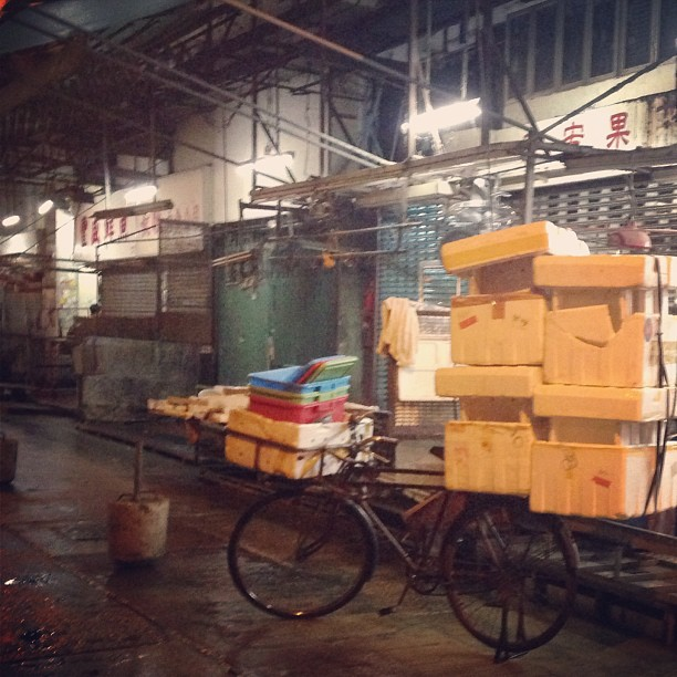 The #market at #night. #bicycle #hongkong #hkig #hk
