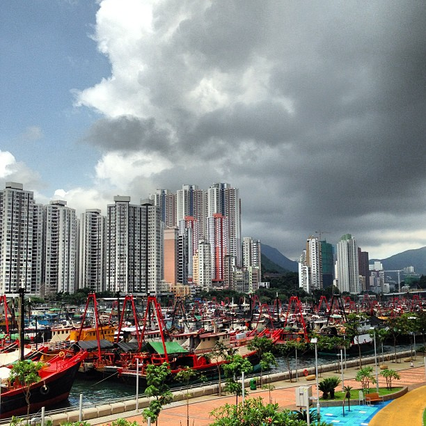 View of #aberdeen from #apleichau. The #bay is filled with #boats. #hongkong #hk #hkig