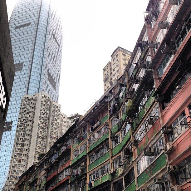 #contrast - #old and #new. #glass and #steel #building against #shophouses. #hongkong #hk #hkig