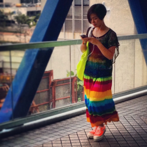 #rainbow #dress and #neon sling. #ladies #fashion / #style in #hongkong. #hk #hkig