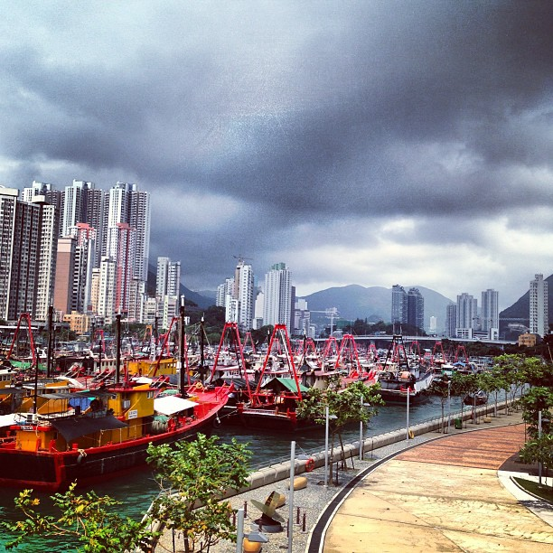 #stormy #clouds over #aberdeen as seen from #apleichau. #boat fill the #bay. #hongkong #hk #hkig