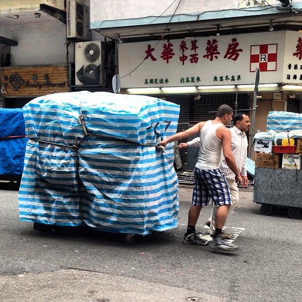 #street #market #traders of the #ladiesmarket in #mongkok pulling thier #stall / #cart to location. #hongkong #hk #hkig