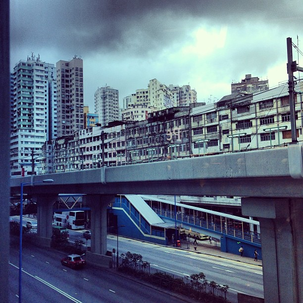 #urban #decay. The #mtr #train tracks pass by #old #buildings. #hongkong #hk #hkig