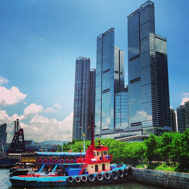 A #boat and #buildings of #glass and #steel. #hongkong #hk #hkig