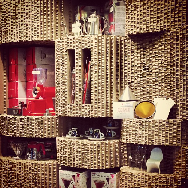 A display #wall / #shelf made from #corrugated #cardboard filled with #coffee making paraphernalia. #hongkong #hk #hkig