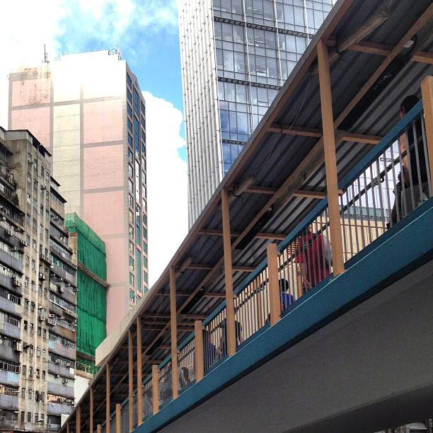 An #intersection of #lines and #angles - a #pedestrian #walkway and #buildings. #hongkong #hk #hkig
