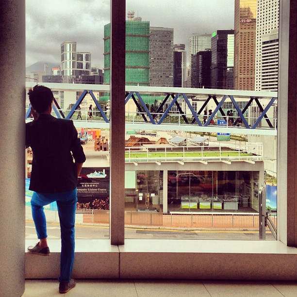 At #IFC #mall - a #silhouette of a #man looks out onto #central #hongkong. #hk #hkig
