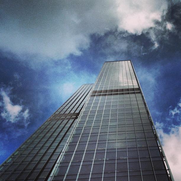 Downstairs looking up: #AXA #tower in #kwuntong. #hongkong #hk #hkig #buildings #glass #steel