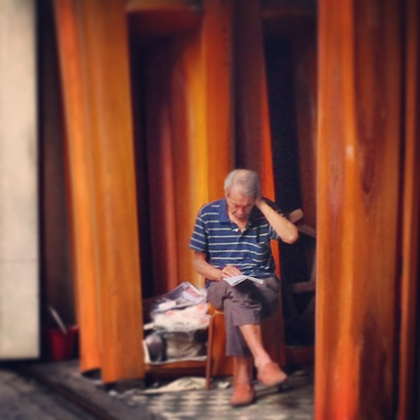 Momento Mori - an #old #man sits in the #coffin makers #shop. #hongkong #hk #hkig