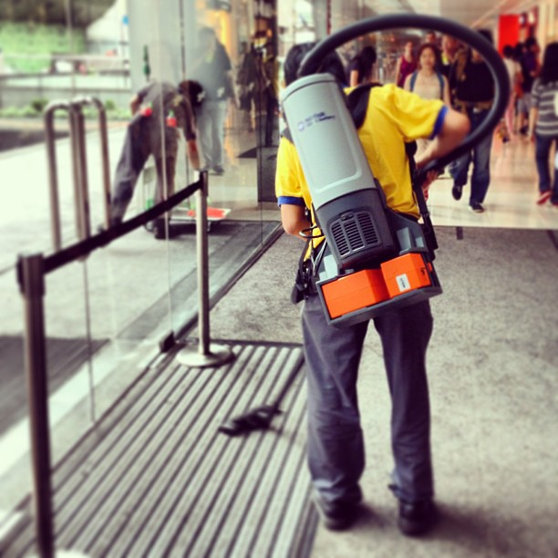 Not a #ghostbuster - #IFC #mall outfits their #sanitation #workers with #mobile #vacuum #cleaners! #hongkong #hk #hkig