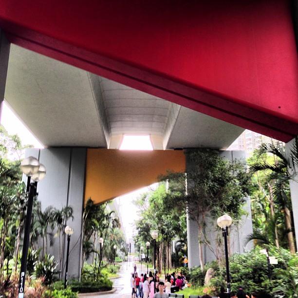 Odd #architecture - under the #mtr #tracks at #chaiwan #park. #hongkong #hk #hkig