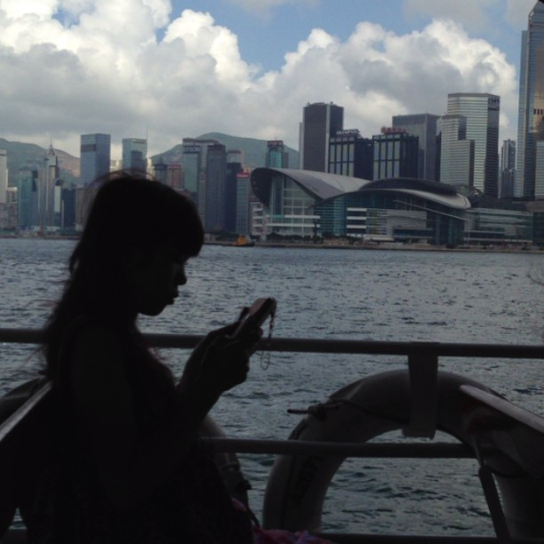 On the #ferry - #silhouette of a #lady #crossing Victoria #Harbour. #hongkong #hk #hkig #hkvideo #instavid