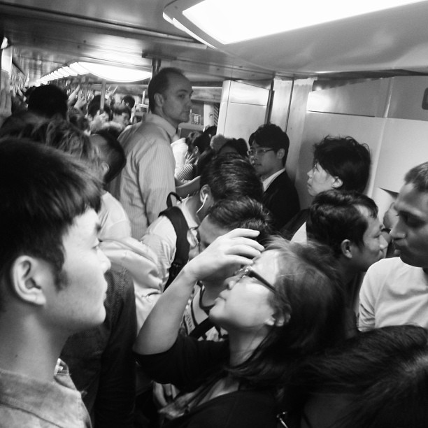 Sea of #faces - #crowds of people in the #mtr #train. #hongkong #hk #hkig