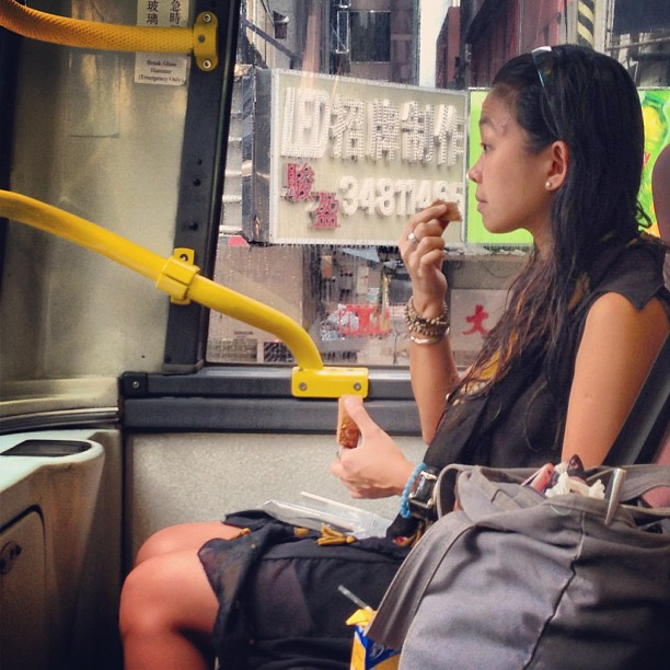 The #morning #commute - a #lady has #breakfast on the #bus. #hongkong #hk #hkig