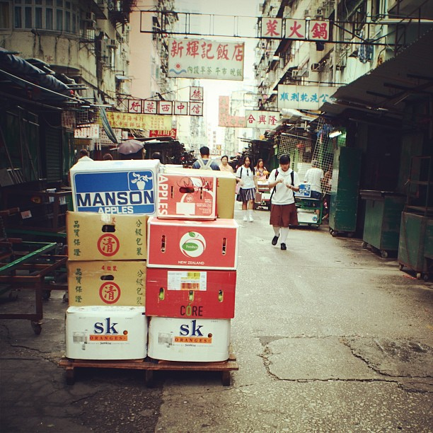 The #morning #street #market has yet to start. #crates of #fruits await the #stall owner. #hongkong #hk #hkig