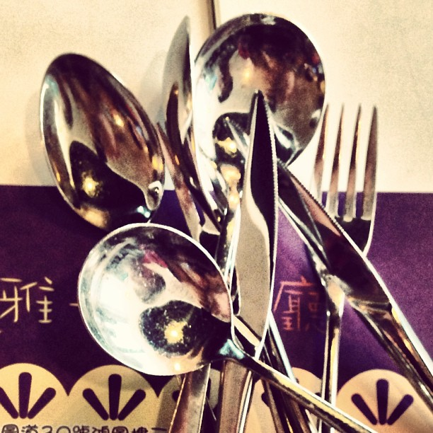 #abstract - #lunch is a jumble of #cutlery. #knife #fork #spoon. #hongkong #hk #hkig