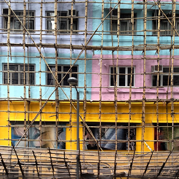 #building works in progress - a #grid of #bamboo #scaffolding. #hongkong #hk #hkig