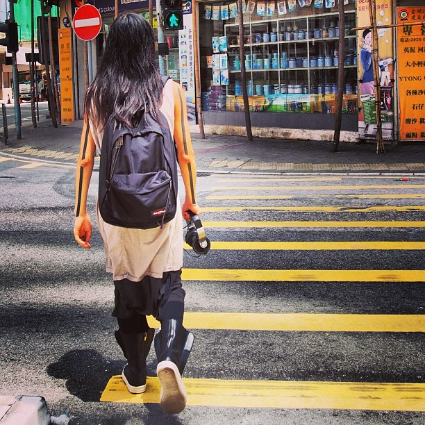 #hongkong #mens #style - very avant-garde with #tattoo and #headphones to boot. #hk #hkig