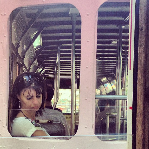 #lady staring out of #tram #window. #hongkong #hk #hkig