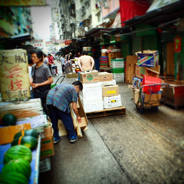 #market #stall owners transport #crates of fresh produce to their stalls. #hongkong #hk #hkig