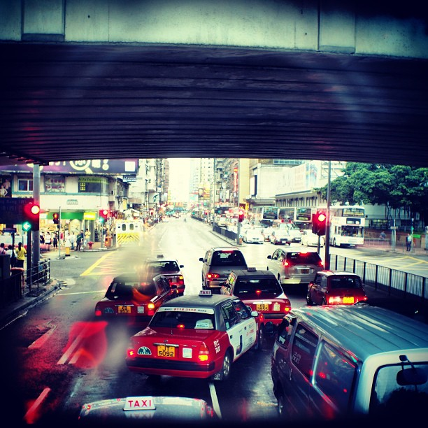 #taxi jam - taxis in a pack on a #rainy day in #mongkok. #hongkong #hk #hk