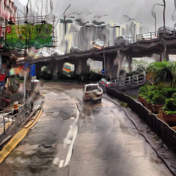 { #watercolor} ~ thru a #rainy #bus #window. #hongkong #hk #hkig
