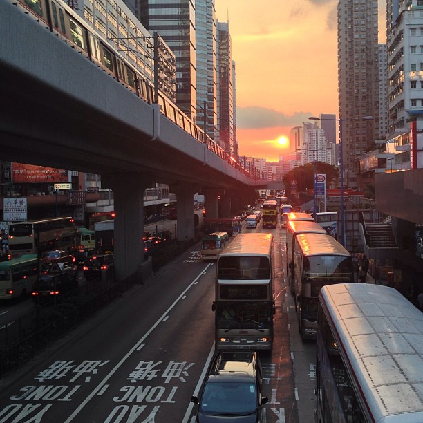 A #KwunTong #sunset - in the #evening, the #mtr and #bus take office workers home. #hongkong #hk #hkig