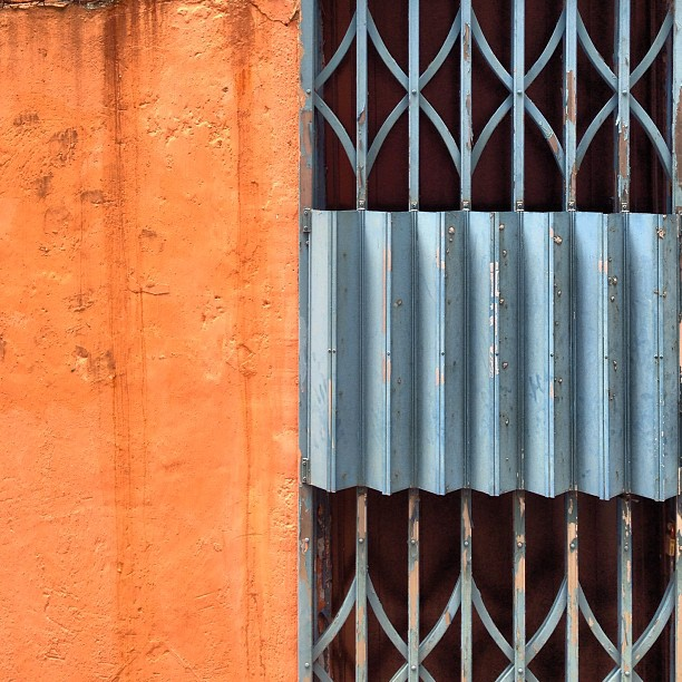 #Abstract - #orange and #blue, #metal #gate and #wall in a lane. #hongkong #hk #hkig