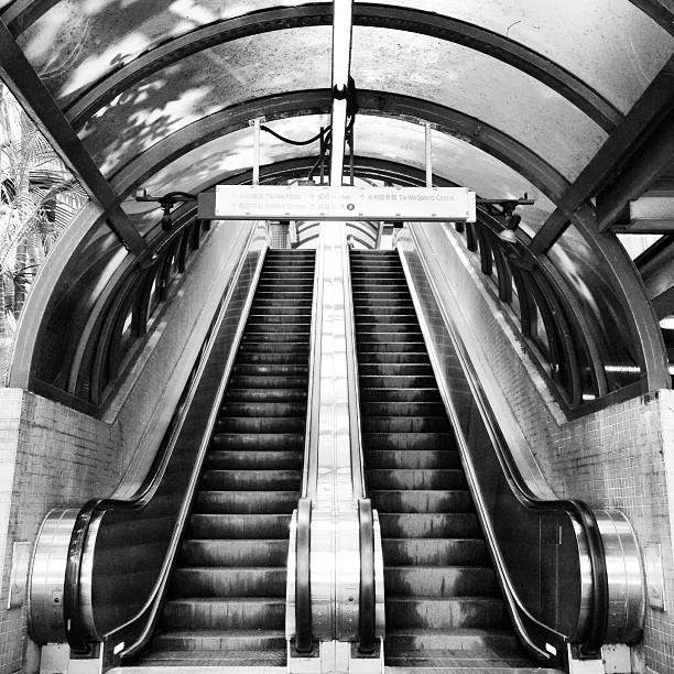 #abstract #mono - #escalators to the #mtr #taiwo #station. #hongkong #hk #hkig