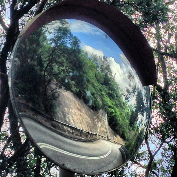 #artsy shot - the world in the #mirror. A #road is #warped by #reflections in the mirror. #hongkong #hk #hkig