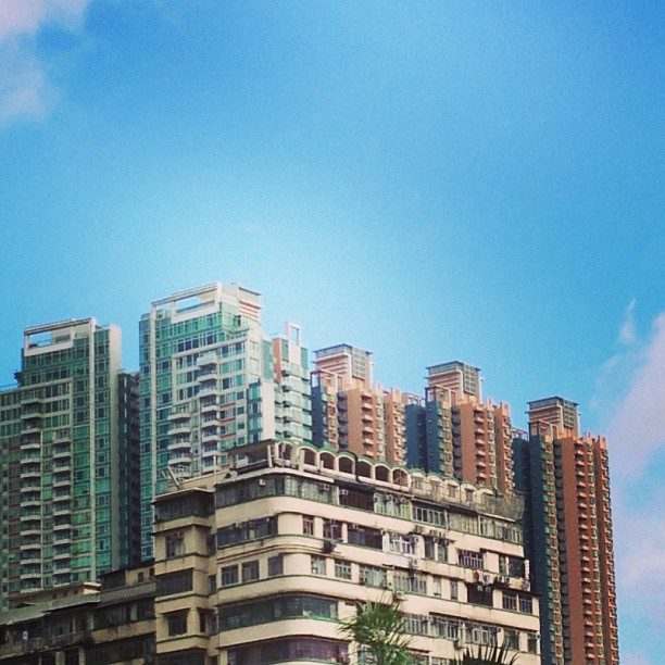 #old #buildings, new buildings, blue sky. #hongkong #hk #hkig