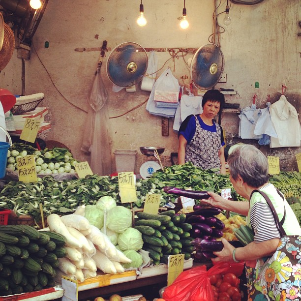 An #old #lady buying #vegetables at the #street #market. #hk #hkig #hongkong