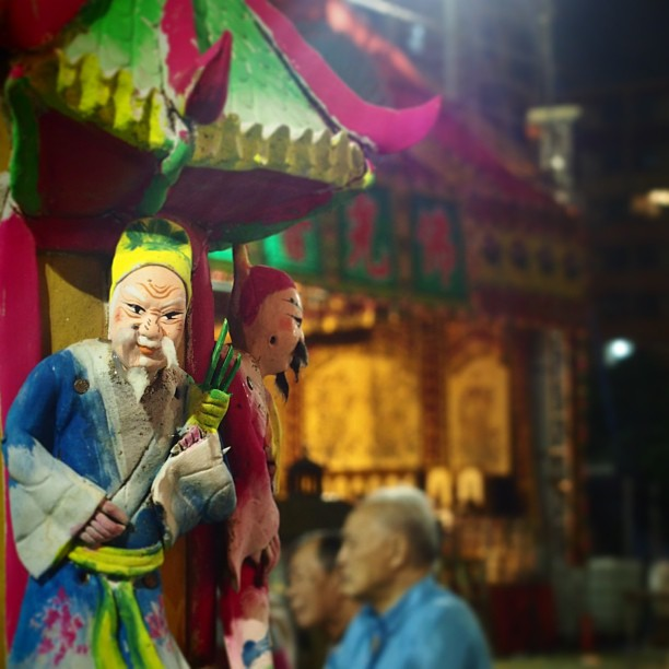 The #old #man and the old man - a #Chinese plaster #doll of an old man stares into the camera at a #YuLan (Hungry Ghost) festival in #ShekKipMei. #hongkong #hk #hkig #bokeh