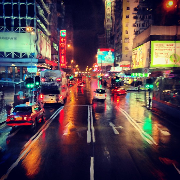 Through a #rain-soaked windshield - #mongkok #roads on a #rainy #night. #hongkong #hk #hkig