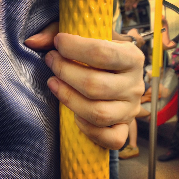 #abstract - #grip. On #mtr a #hand grasps a pole. #hongkong #hk #hkig