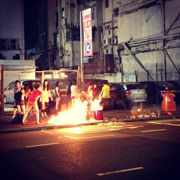 #bonfire of offerings on the #streets of #mongkok for #YuLan (Hungry Ghost Festival). #hongkong #hk #hkig