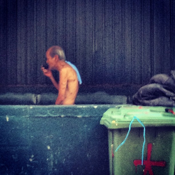 #grainy shot - #old #man #smoking a #pipe. #hongkong #hk #hkig