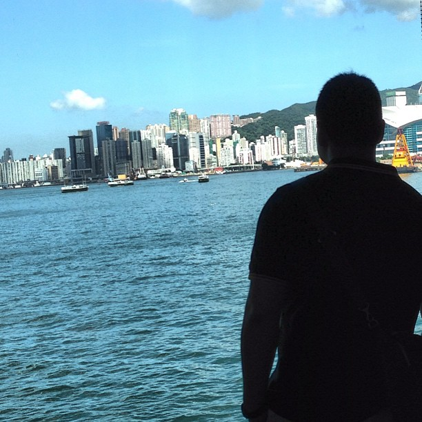 #silhouette of a #man looking out on to #VictoriaHarbour. #hongkong #hk #hkig