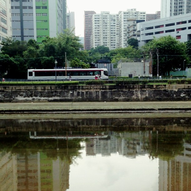 The #LRT (light rail #tram / #train) casts #reflections as it passes by a #river in #TuenMun. #hongkong #hk #hkig #hkvideo #video #instavid