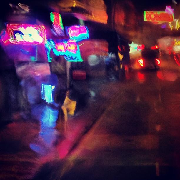 #abstract - #watercolor-like, a view of #mongkok through a #rain-soaked bus window. #hk #hkig #hongkong